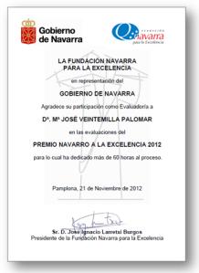 2012. Diploma agradecimiente a la labor como Evaluadora